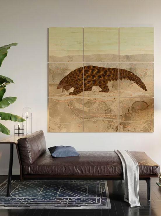 Pangolin Walking in the desert, wood wall art above a sofa