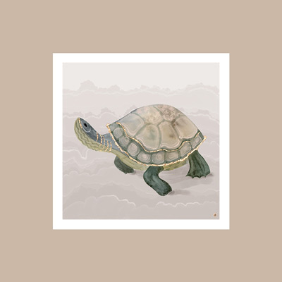 Sage green turtle, a vintage art print, against a Sherwin-Williams Sand Dollar wall color.