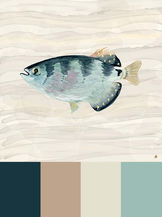 Exotic pale blue fish, a watercolor painted in neutral earthy tones and calming light brown colors