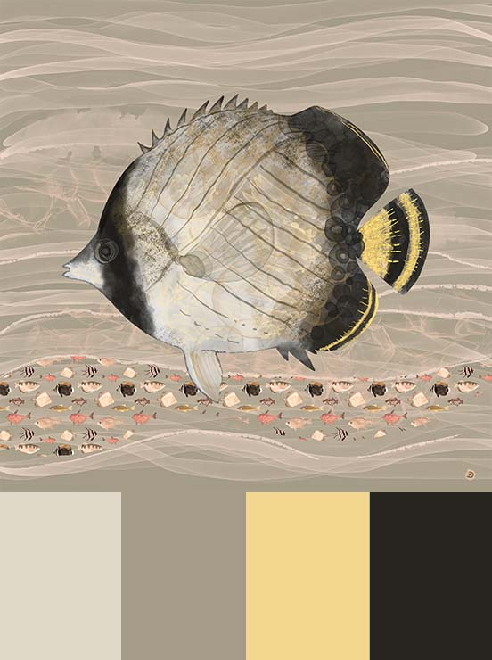 Butterflyfish watercolor painting, in earth tones colors aesthetic