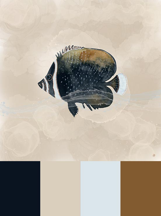 Vintage fish art print in soothing neutral colors, to match greige walls