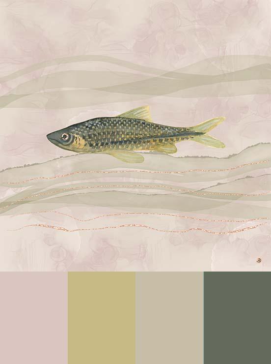 Carp Fish Swimming, a watercolor artwork in neutral colors