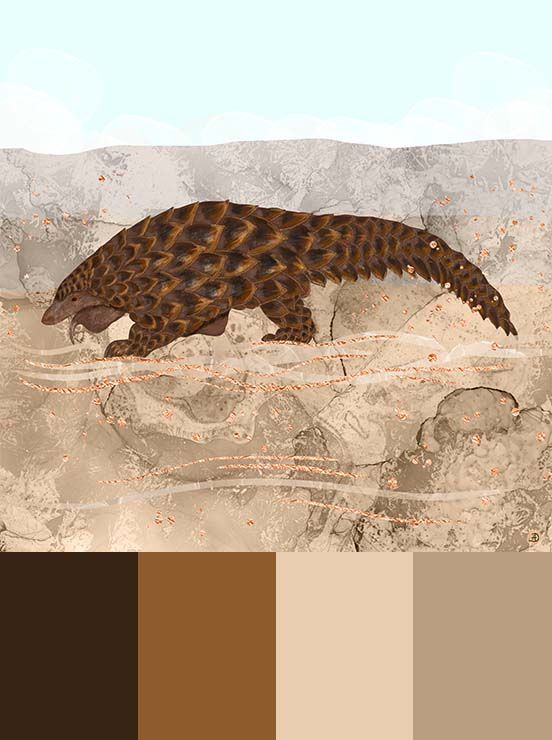 Pangolin art print, painted in brown and light sand colors, to match greige interior decor