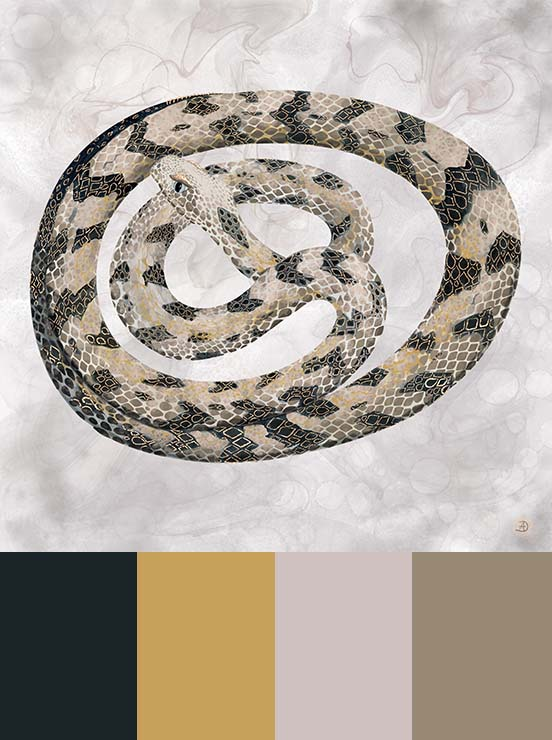 Timber rattlesnake art print, painted in muted color palette and earth tones