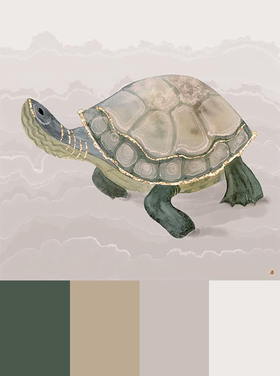 Turtle art print with neutral earth tones palette