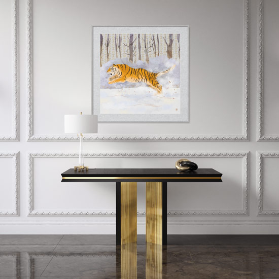 Luxury art print with Siberian Tiger running in the snow