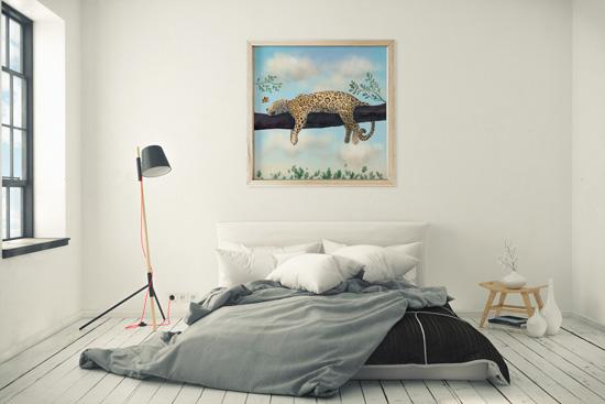 Jaguar animal drawing - framed art print over bed