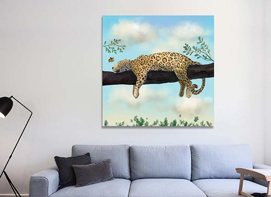 Jaguar on a Branch Canvas Art Print