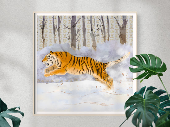 Amur Tiger in the Snow, Framed Art Print