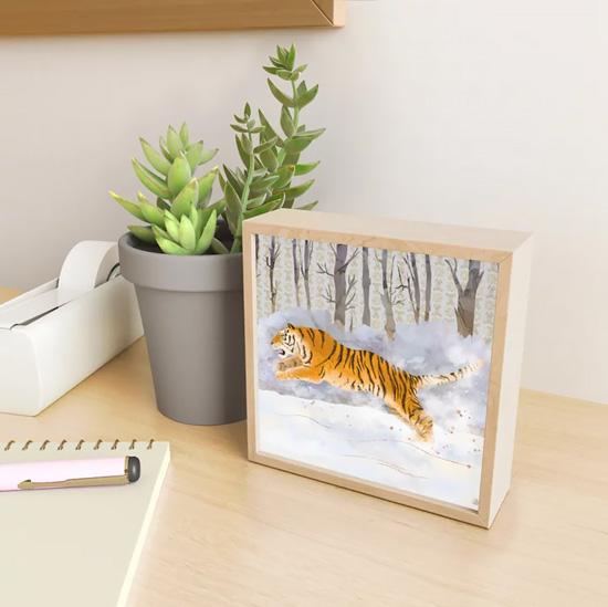 Mini art print with Siberian Tiger