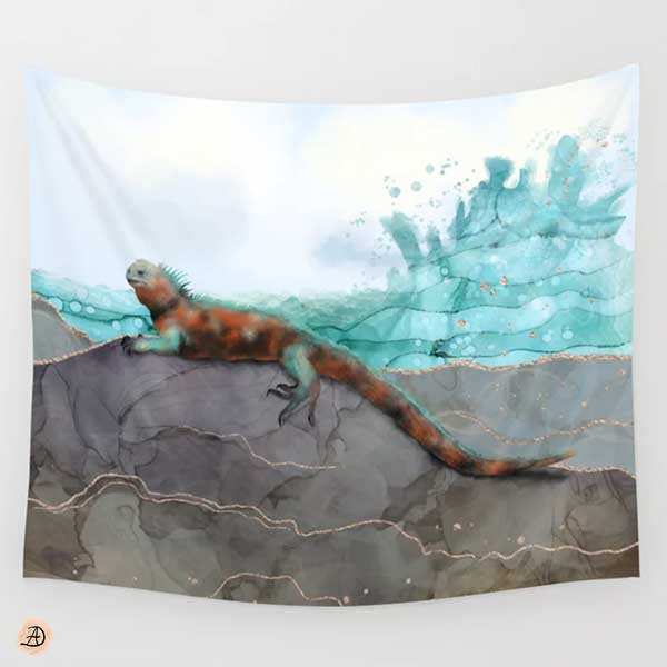 Marine Iguana on the Seashore, tapestry by Andreea Dumez