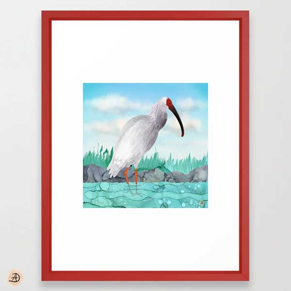 Crested Ibis Art print by Andreea Dumez
