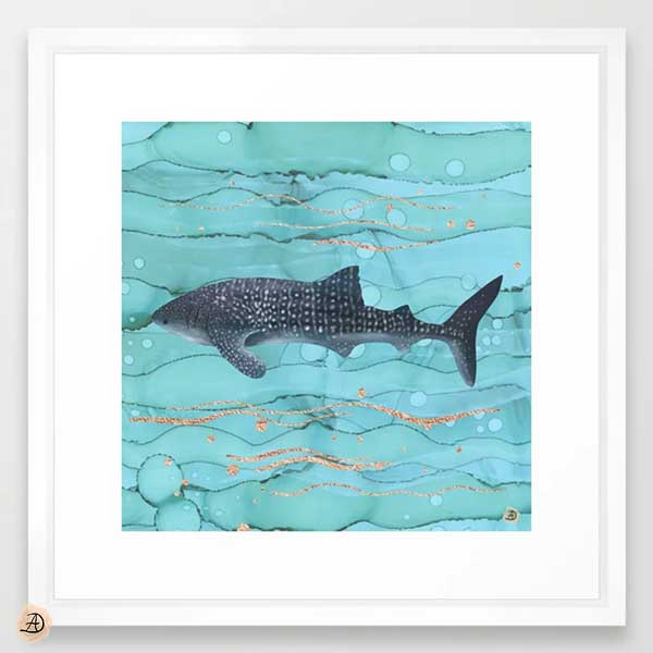 Whale shark in turquoise waters - white frame wall art