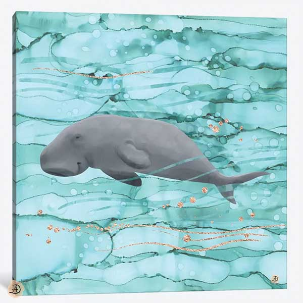 Cute dugong swimming underwater - canvas print by Andreea Dumez