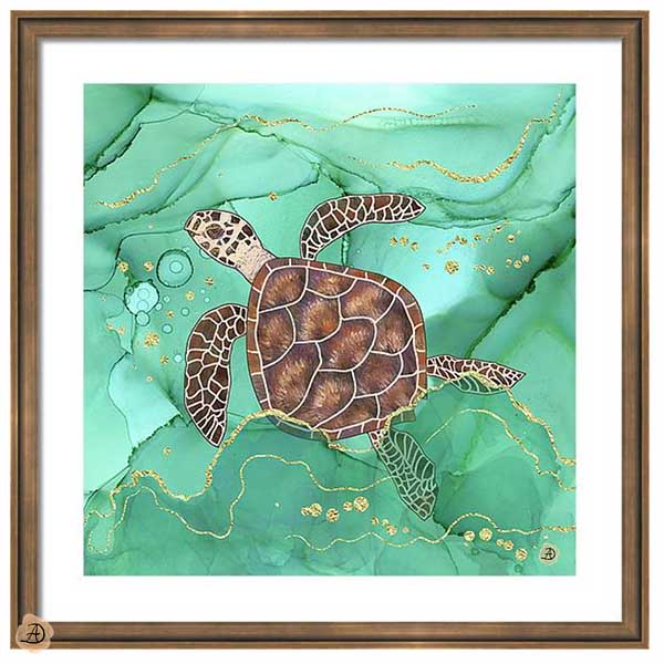 Hawksbill Turtle Framed Wall Art by Andreea Dumez