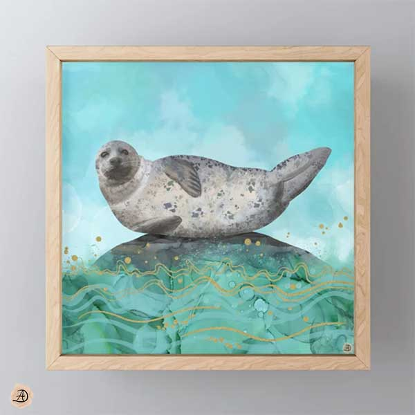 Cute Seal in Banana Pose framed mini art print by Andreea Dumez