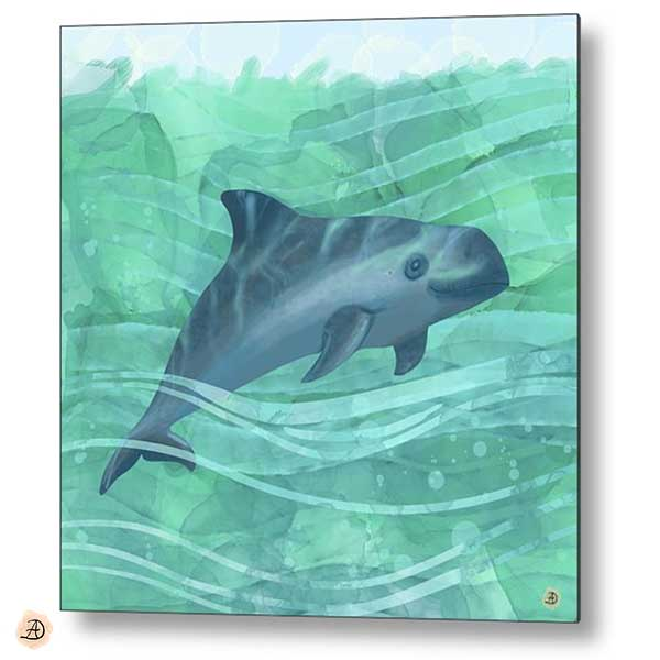 Vaquita Porpoise Swimming in the Ocean - Metal print by Andreea Dumez