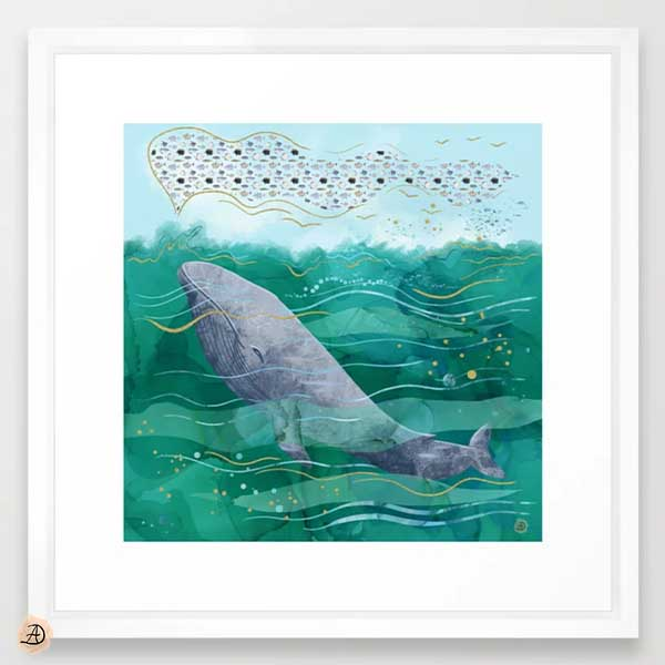Blue Whale in the Ocean - Framed Wall Art by Andreea Dumez
