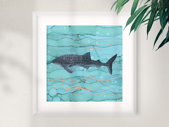 White frame wall art print with a whale shark artwork by Andreea Dumez