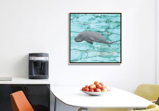 Turquoise wall art printed on canvas, depicting a dugong swimming in light teal-blue waters