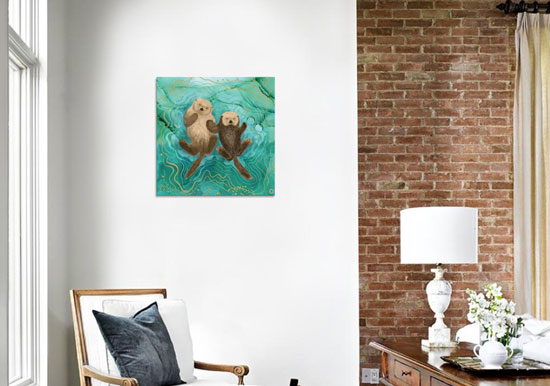 Turquoise animal art printed on canvas, depicting two otters holding hands and swimming in emerald waters