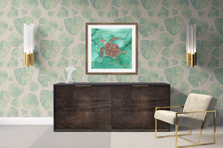 Green wall art by Andreea Dumez, depicting a Hawksbill Turtle Swimming in turquoise water