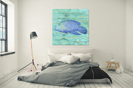 Turquoise art poster over a bedroom wall,  depicting an exotic fish swimming in green-blue waters