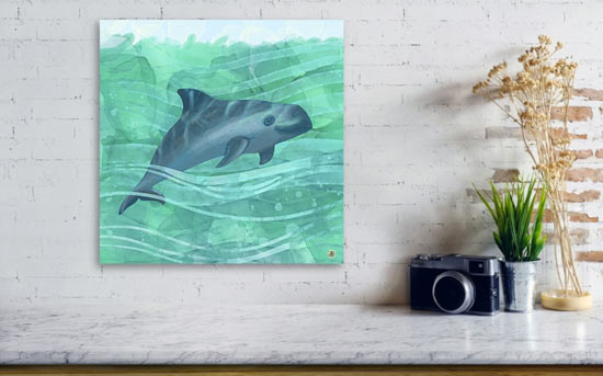 Teal Wall Art with a metal art print of a Vaquita Porpoise sea life scene