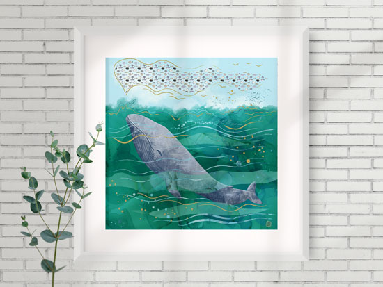 Aqua wall art depicting a whale swimming in a turquoise ocean