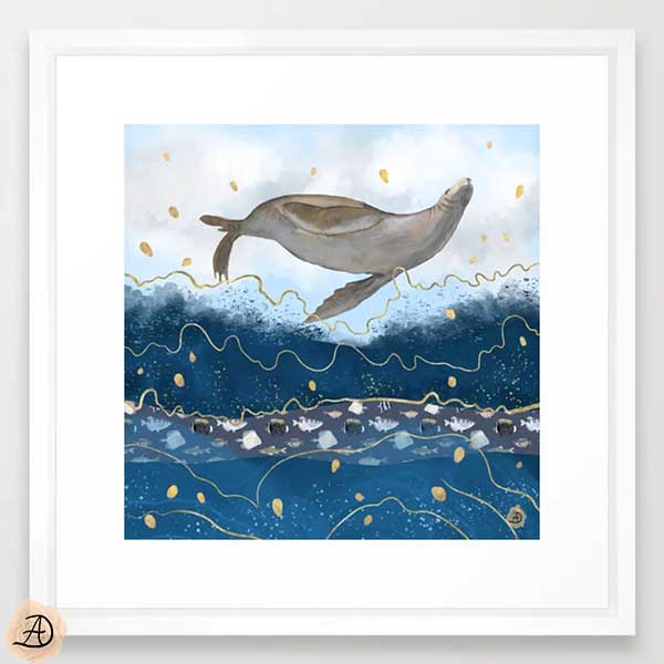Flying seal surreal wall art print