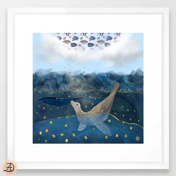 Framed wall art print - surrealist nautical art depicting a seal in the ocean