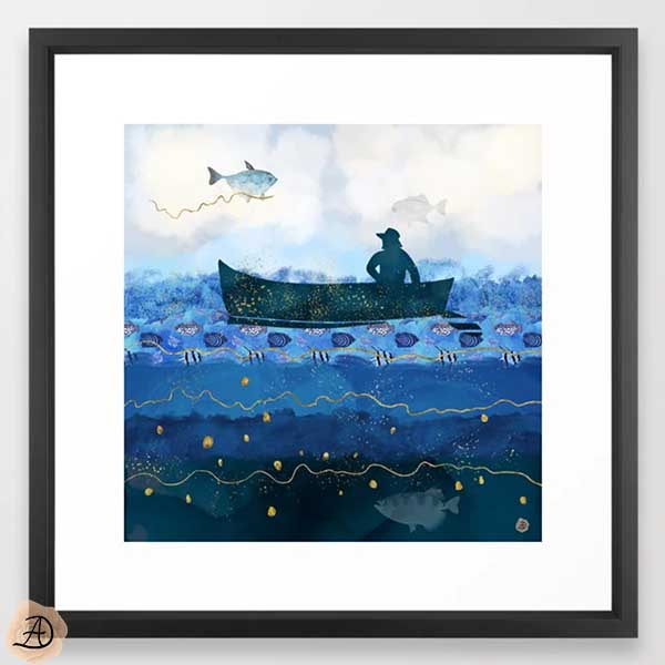 Society6 framed wall art print, depicting a fisherman in his boat, over a blue ocean.