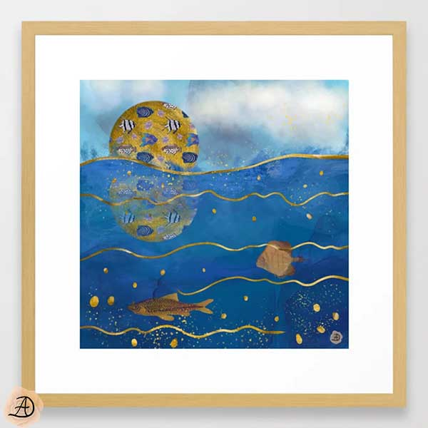 Natural wood framed wall art depicting a golden moon reflecting over the ocean