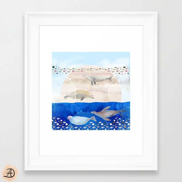 Society6 framed wall art with a coastal art print depicting a surrealist scene with seals swimming and flying