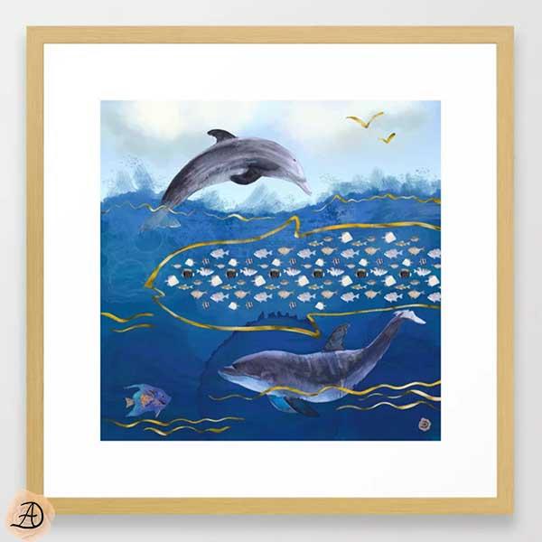 Framed beach art depicting dolphins hunting fish, a surrealist art print