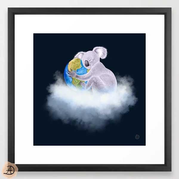 Black framed wall art depicting a koala bear hugging Earth.