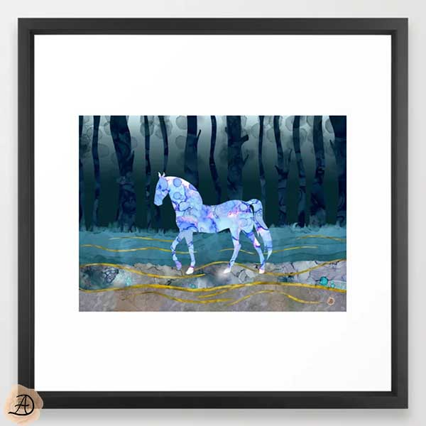 Black framed wall art depicting a surrealist scene with a horse in a forest.
