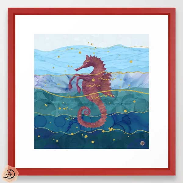 Society6 wall art depicting a surrealist seahorse in the ocean