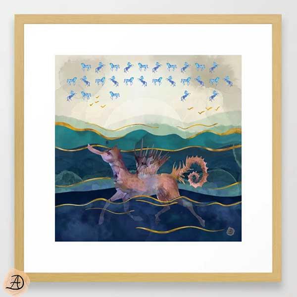 Natural wood framed art print depicting a mythological creature called hippocamp