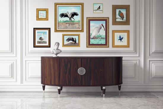 Antique interior scene with gold framed bird prints