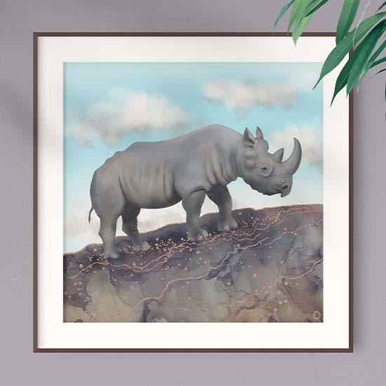 African rhinoceros framed art print by artist Andreea Dumez