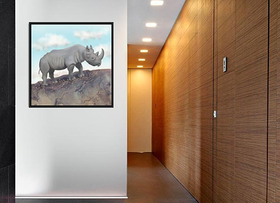 Black rhinoceros canvas art print by Andreea Dumez
