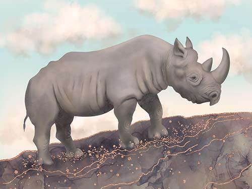 Black Rhino Art Prints