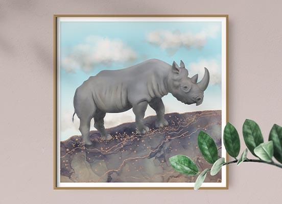 black rhino frmaed wall art by Andreea Dumez