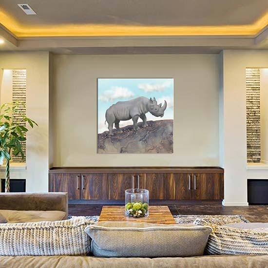 African Black Rhino - large luxury art print from iCanvas