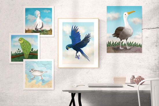 Collage Gallery Wall Art with Bird Posters and a framed bird print