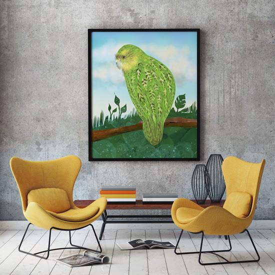 Big elegant framed poster of a Kakapo bird, art by Andreea Dumez