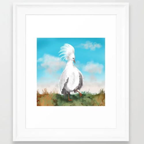 Kagu bird art print