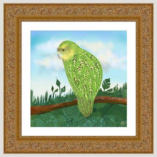 The Kakapo Parrot bird with a golden frame