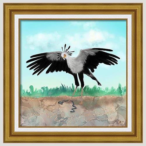 Secretary Bird Framed Art Print by Andreea Dumez